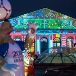 Световое шоу к Чемпионату мира по футболу на здании Манежа 2018
