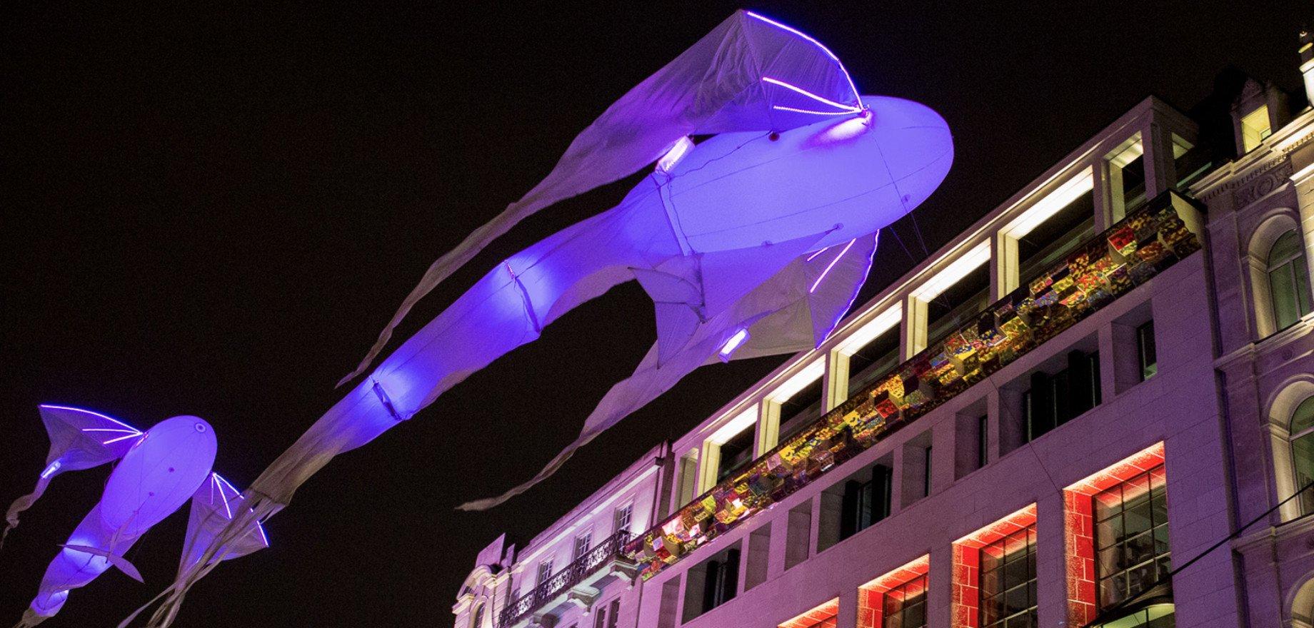 В программе: Летающие «Люминолии». Воздушные скульптуры — фантастические летающие рыбы из романов Гибсона в вечернем небе фестиваля.