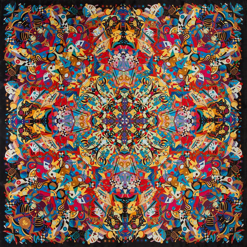 Платок «Кандинский», натуральный шелк, цифровая печать, 2013