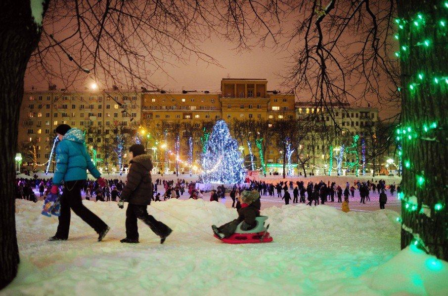 Празднование новый год в парке